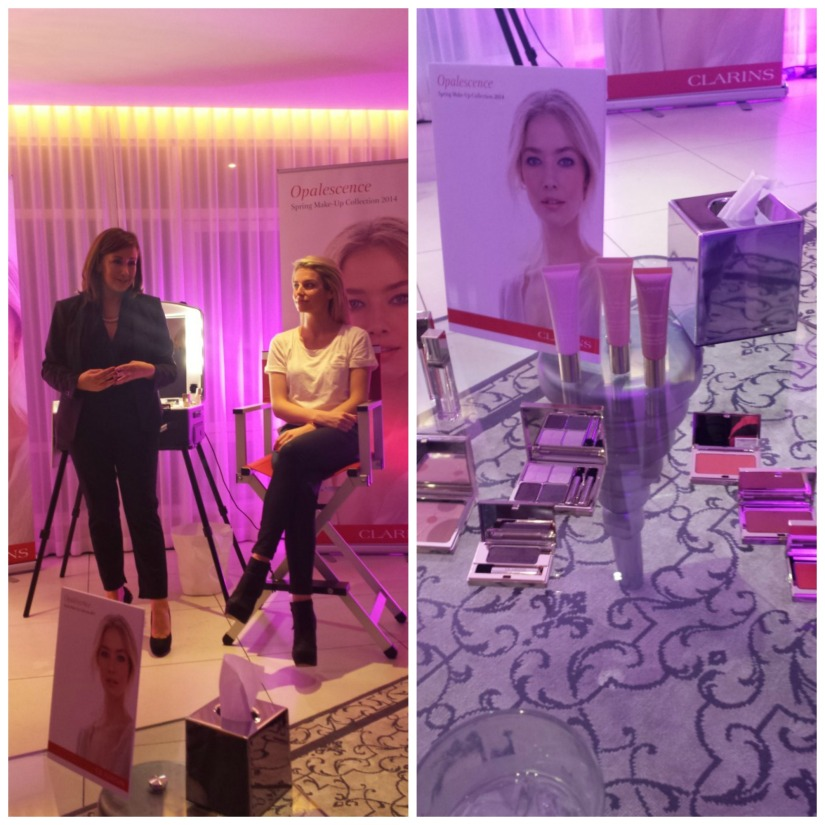 Clarins Makeup Artist Siobhan working on the beautiful Pippa Ormond (left) and the Opalescence Collection (right)